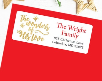 Christmas Address Labels - The Wonders of His Love - Sheet of 30