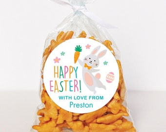 Easter Stickers - Easter Bunny Holding a Carrot - Sheet of 12 or 24