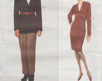 Vogue 1228 / Vintage Designer Sewing Pattern By Anne klein / Skirt Jacket Pants Trousers Suit Pantsuit / Sizes 6 8 10