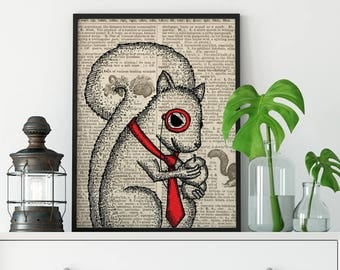 Monocle, squirrel, vintage dictionary page art, black and white art, illustration, animal, wall art, top best selling, gift under 30, print