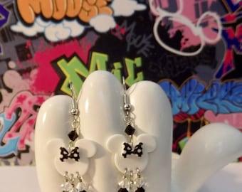 Minnie Mouse Black and White Polka Dot Bow Dangle Earrings