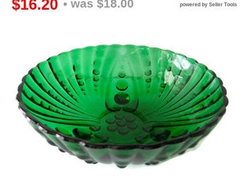 Forest Green Vintage Burple or Oyster and Pearl Bubble Bowl Fire King Mid Century