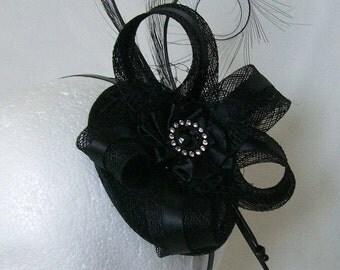 Black Satin & Sinamay Pheasant Curl Feather Isabel Wedding Gothic Steampunk Fascinator Mini Hat - Custom Made to Order