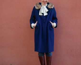 50s Coat / Cocoon Coat / Wool / Blue / Fur Collar / Coat For Women / Pin Up / Midcentury / Winter / Jacket / Jacket For Women /