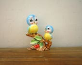 Vintage Norcrest 1950s Mother and Baby Bluebird Figurine Made in Japan