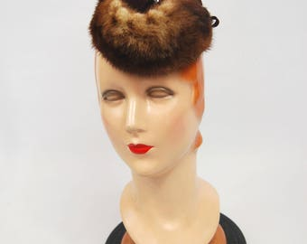Late 1930s Early 1940s Brown Tilt hat - Military style fur hat - Jaunty 30s 40s Chocolate Brown