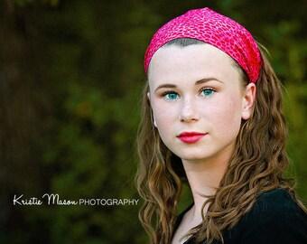 Animal Print Headband, Hot Pink Headband, Leopard Print, Girl's Headband, Bright Pink Head Scarf Hair Wrap (#4218) S M L X
