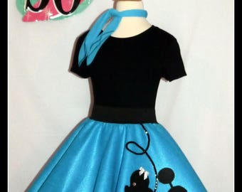 My Beautiful Turquoise Prancing Poodle Skirt Made In Your Choice Of Size And