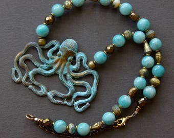Octopus Pendant Necklace Rare Large French Brass Stamping w Verdigris Patina and A Grade Amazonite Aqua Ocean Beach Nautical Jewelry