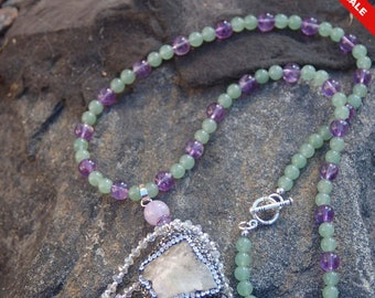 """Green Quartz Druzy Pendant and Jade with Amethyst Chain - """"Snow Showers"""""""