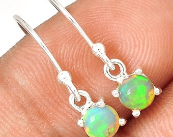 Opal Earrings Tiny Round Solid Genuine Opal Cabochon Dangle Earrings in Solid Sterling Hook Style Earrings