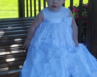 Lace, Rose Christening Gown / White Christening Dress / Blessing Gown / Blessing Dress / Naming Dress