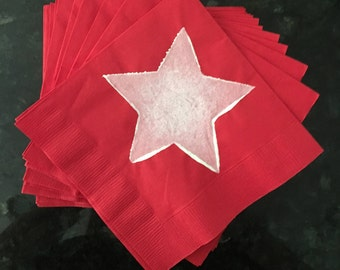 Red and White Star Paper Cocktail/ Luncheon/ Dinner Napkins