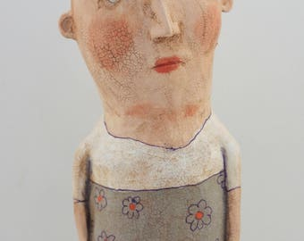Folk art paper mache painted doll sculpture with crackle finish #5