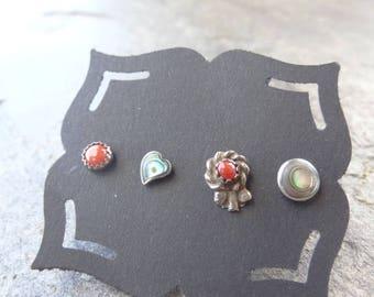 Vintage Sterling Studs - Sterling - Mis matched Earrings - Single - Post Earrings - Abalone Earrings - Coral - Tiny Stud Earrings