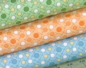 Three Coordinating Blue, Orange, White, and Green Fabrics, 1930's Reproduction Fabric Bundle, Berries & Blossoms, A Kim's Cause Collection