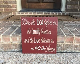 Dining Room Wall Art ~Bless The Food Before Us Wooden Sign ~Wood Kitchen Signs ~Kitchen Decor ~Kitchen Wall Art~Prayer Sign ~Dinner Prayer