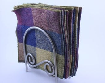 Table Napkins in Checkered Warm  Colors  Set of 12    (13- 1/4 x 13-1/4 Inches)