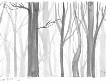 Foggy Forest - ink drawing