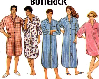 Butterick 3548 EASY Mens Womens Unisex Nightshirt Sleepwear 80s Vintage Sewing Pattern Size X Small Small Medium UNCUT Factory Folded