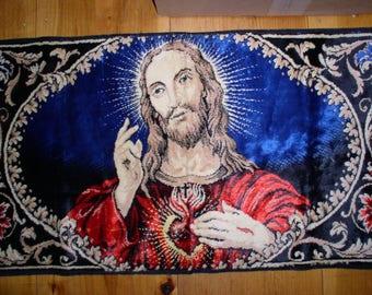 Vintage Sacred Heart Jesus Velvet Prayer Rug Wall Hanging 19x38 Catholic Christian Italian Velveteen