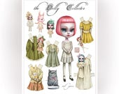 The Dolly Collector - full color Big Eyes pop surrealism paper art doll sheet - by Mab Graves