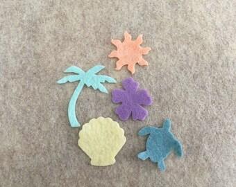 Tropical Felt Shapes-Colorful Beach Parties Favors-Tropical Decorations-Bible Journaling-Planner-Embellishments-Iron On Applique-Felt Shapes