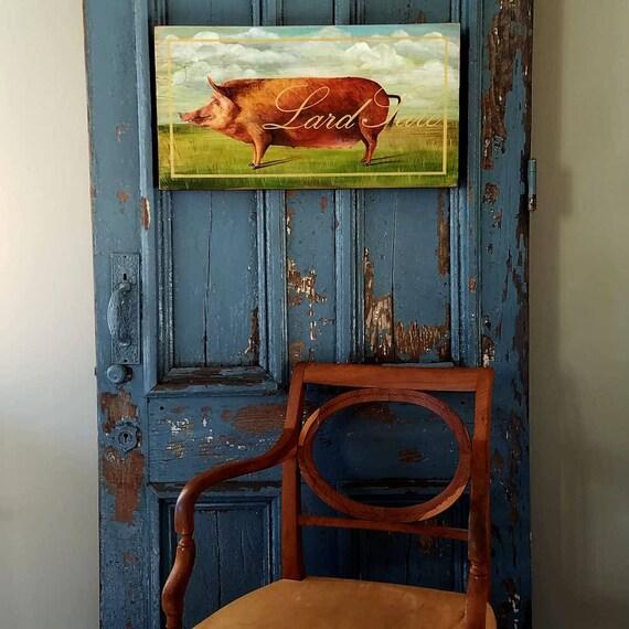 Lard Sale original acrylic painting on repurposed wood