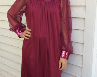 70s Sequin Formal Gown Dark Red Wine Dress Maxi XL Plus Vintage