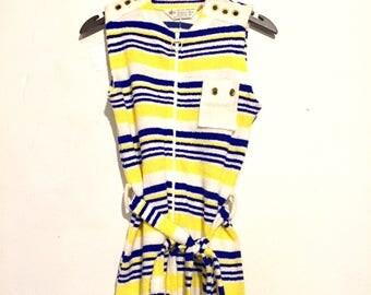 Striped Terry Cloth Romper