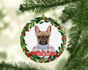 Dog Ornament Pet Gift French Bulldog Ornament French Bulldog Christmas Ornament Dog Christmas Ornament Personalized French Bulldog Gift