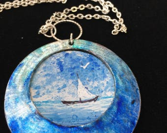 Blue Ocean Necklace, Ocean Necklace, Blue Necklace, Ocean jewelry, Blue Ocean,Wearable Art