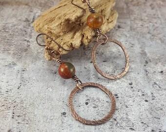 Hammered Copper Earrings, Rustic Copper, Red Creek Jasper Stone. Dangle Earrings. Wire Wrap Earrings. Boho Copper Dangle Womens Gift.