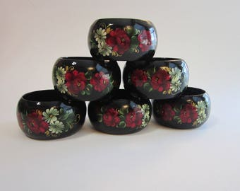 6 vintage lacquered napkin rings - wood napkin rings - hand painted flowers