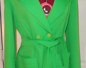 Vintage 60's 70's Mod Bright Green Double Breasted Blazer Jacket w/ Belt M