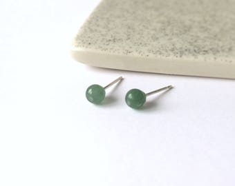 Tiny jade studs - Teeny tiny green jade studs earrings - minimalist jewelry - everyday wear earrings - simple studs - green earrings