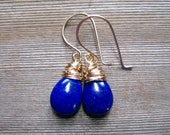 Lapis Lazuli Earrings, 14K Gold Filled, Cobalt Blue,  September Birthstone, Wire Wrapped, Lapis Lazuli Jewelry