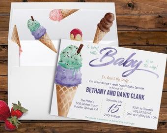 Ice Cream, How Sweet It Is, Here's the Scoop, Watercolor, Summertime, Ice Cream Social, Baby Shower, Sprinkle, Printable Digital, Invites