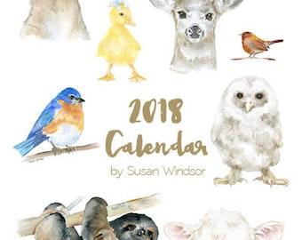 2018 Calendar - Animal 4 x 6 Desk Calendar - 12 Month - Watercolor Art