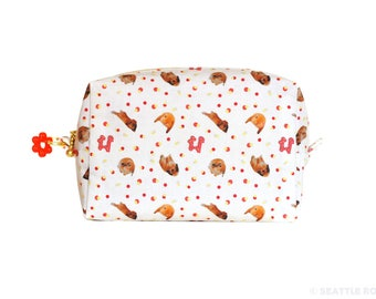 SALE! Orange Apollo's Box / Square Zipper Pouch for Bunny Lovers (Ivory x Red)