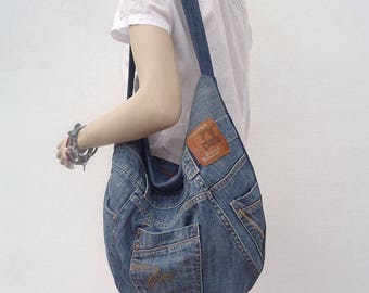 Denim bag hobo purse slouchy shoulder bag upsycled jeans