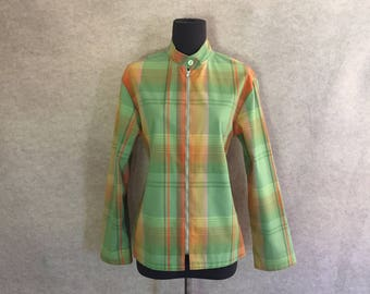 Vintage 70's Jacket, Plaid Jacket, Green and Orange Plaid, Windbreaker, Zipper Jacket, Sporty, Preppy, Women's Medium, Bust 39