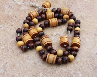 String of Wood Beads, Round and Barrel Shaped, Dark and Light Wooden Beads, Destash