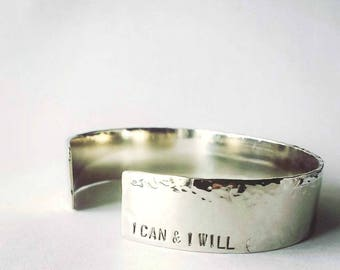 I can & I will . Personalized Bracelet . Inspirational Jewelry . Motivational Bracelets . Inspirational Bracelet