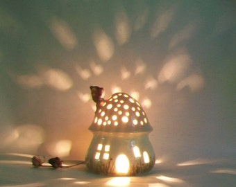 Night Light/ Fairy House -Pink Roof, Mushroom with Starry Sky - Hand Painted - Ready to Ship - Childrens Lamp / Nursery Light
