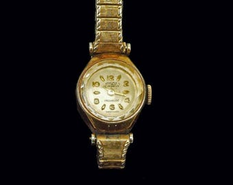 Vintage Ladies Incabloc Swiss Watch Enzd 17 Jewels 10K RGP Bezel Stretch Band Free US Shipping