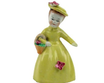 Vintage Porcelain Yellow Dress Figurine Little Girl Little Bell Basket of Flowers Cottage Chic