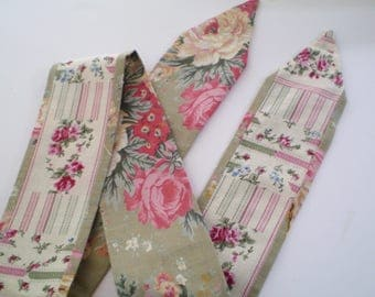 Cottage Head Scarf, Reversible Shabby Cottage Head Scarf, Cottage Ticking Head Scarf