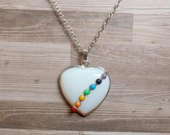 Opalite Chakra Heart Necklace - Seven Chakra Necklace - Heart Necklace - Gemstone Necklace