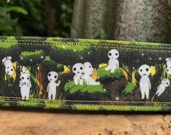 Forest Spirits Dog Collars, Kadama, Forest, Sturdy Fabric, Japanese, Anime, Nature Lovers